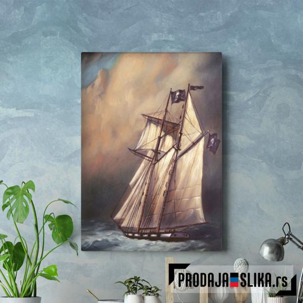 Pirate Schooner In Stormy