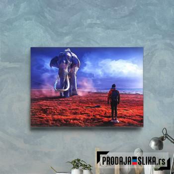 Man and elephant