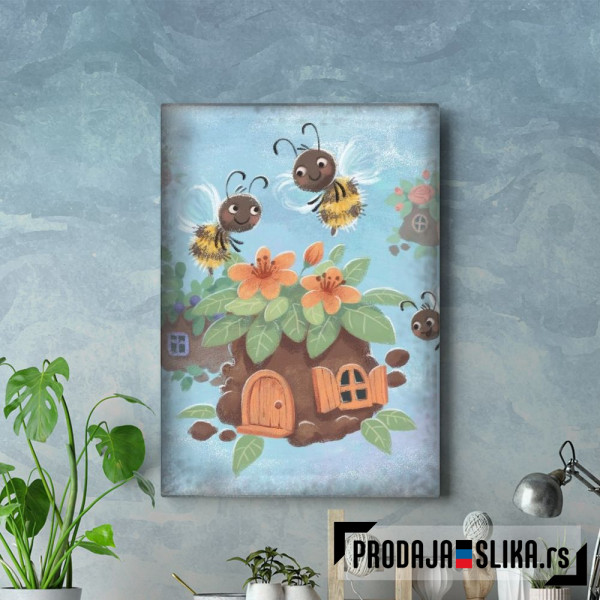 Bee house in cartoon style
