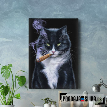 Cool Tuxedo Cat with Cigar